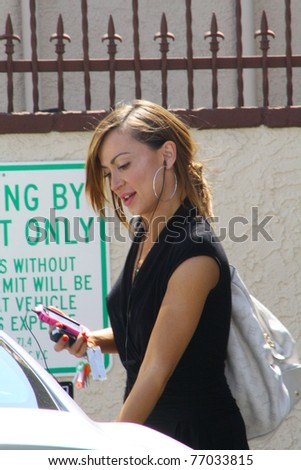 LOS ANGELES - MAY 11: Dancer Karina Smirnoff arrives at the Dancing with the Stars rehearsal studio for one of the final weeks of rehearsal on May 11, 2011 Los Angeles, CA.
