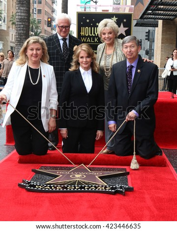 LOS ANGELES - MAY 19:  Deidre Hall, Chamber officials, Susan Seaforth Hayes at the Deidre Hall Hollywood Walk of Fame Ceremony at Hollywood Blvd. on May 19, 2016 in Los Angeles, CA - stock photo