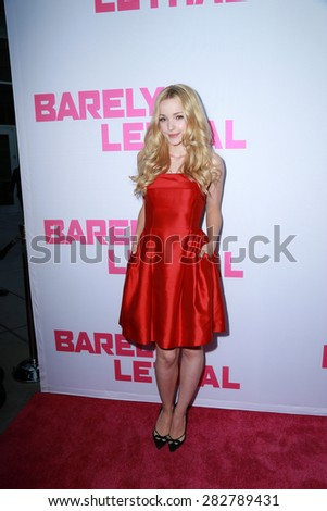 "LOS ANGELES - MAY 27:  Dove Cameron at the ""Barely Lethal"" Los Angeles Screening at the ArcLight Hollywood Theaters on May 27, 2015 in Los Angeles, CA - stock photo"