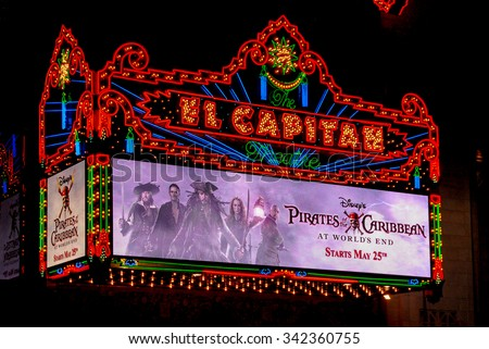 Los Angeles - May 15, 2007: El Capitan Theater in Hollywood. El Capitan Theater is owned and operated by The Walt Disney Company. - stock photo