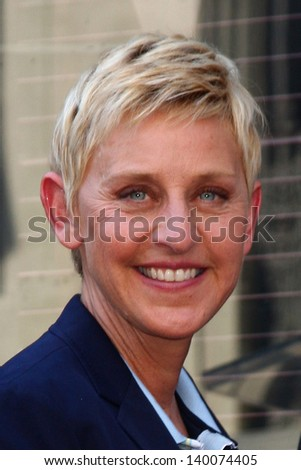 LOS ANGELES - MAY 13:  Ellen DeGeneres at the Steve Harvey Hollywood Walk of Fame Star Ceremony at the W Hollywood Hotel  on May 13, 2013 in Los Angeles, CA - stock photo