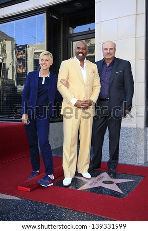 LOS ANGELES - MAY 13: Ellen DeGeneres, Steve Harvey and Dr Phil McGraw at a ceremony where Steve Harvey is honored with a star on the Hollywood Walk Of Fame on May 13, 2013 in Los Angeles, California - stock photo