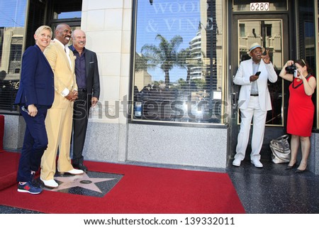 LOS ANGELES - MAY 13: Ellen DeGeneres, Steve Harvey, Dr Phil McGraw, Samuel L Jackson at a ceremony where Steve Harvey is honored with a star, Hollywood Walk Of Fame on May 13, 2013 in Los Angeles, CA - stock photo