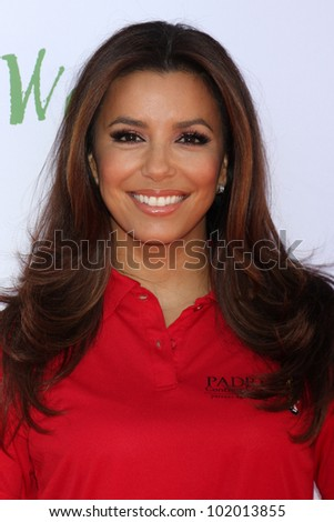 LOS ANGELES - MAY 7:  Eva Longoria arrives at the 5th Annual George Lopez Celebrity Golf Classic at Lakeside Golf Club on May 7, 2012 in Toluca Lake, CA - stock photo