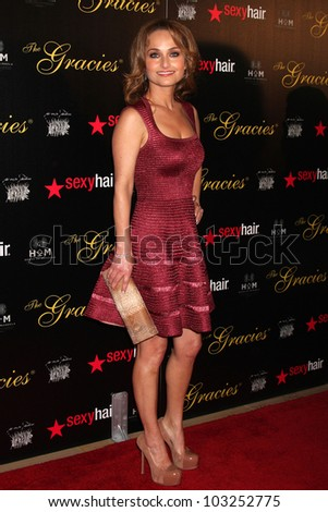 LOS ANGELES - MAY 22:  Giada De Laurentiis arrives at the 37th Annual Gracie Awards Gala at Beverly Hilton Hotel on May 22, 2012 in Beverly Hllls, CA - stock photo