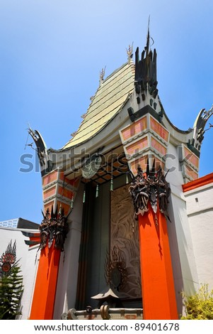LOS ANGELES - MAY 18: Grauman's Chinese Theater on May 18, 2009 located on Hollywood Boulevard in Hollywood, California. Footprints and handprints of celebrities are ensconced in front of the building - stock photo