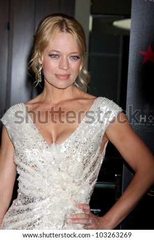 LOS ANGELES - MAY 22:  Jeri Ryan arrives at the 37th Annual Gracie Awards Gala at Beverly Hilton Hotel on May 22, 2012 in Beverly Hllls, CA - stock photo