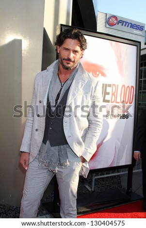 """LOS ANGELES - MAY 30:  Joe Manganiello arrives at the """"True Blood"""" 5th Season Premiere at Cinerama Dome Theater on May 30, 2012 in Los Angeles, CA - stock photo"""
