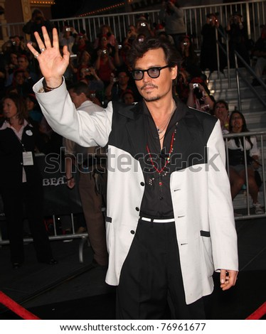 """LOS ANGELES - MAY 07:  Johnny Depp arrives to the """"Pirates of the Caribbean: On Stranger Tides"""" World Premiere  on May 7, 2011 in Anaheim, CA - stock photo"""
