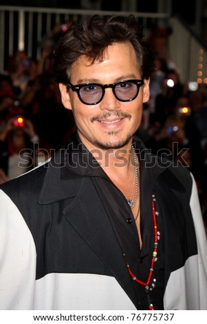 "LOS ANGELES - MAY 7:  Johnny Depp arriving at the ""Pirates of The Caribbean: On Stranger Tides"" World Premiere at Disneyland on May 7, 2011 in Anaheim, CA - stock photo"