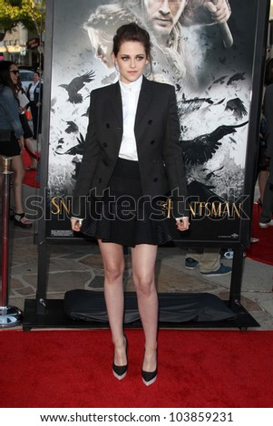 LOS ANGELES - MAY 29:  Kristen Stewart arrives at the 'Snow White And The Huntsman' Los Angeles screening at Village Theater on May 29, 2012 in Westwood, CA - stock photo