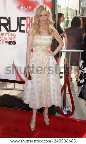 """LOS ANGELES - MAY 30:  KRISTIN BAUER van STRATEN arrives to """"True Blood"""" Season 5 Premiere  on May 30, 2012 in Hollywood, CA                 - stock photo"""