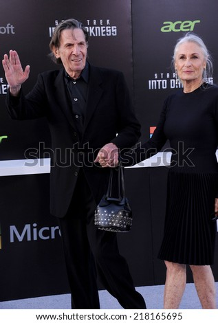 """LOS ANGELES - MAY 14:  Leonard Nimoy & Susan arrives to the """"Star Trek Into Darkness"""" Los Angeles Premiere  on May 14, 2013 in Hollywood, CA                 - stock photo"""