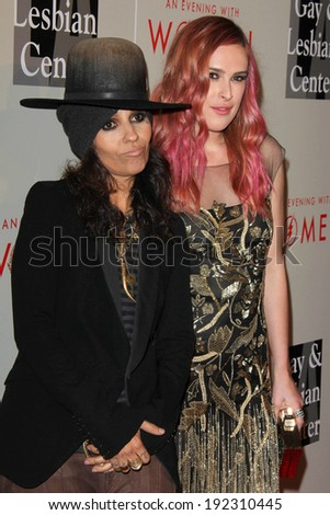 """LOS ANGELES - MAY 10:  Linda Perry, Rumer WIllis at the L.A. Gay & Lesbian Center's """"An Evening With Women"""" at Beverly Hilton Hotel on May 10, 2014 in Beverly Hills, CA - stock photo"""