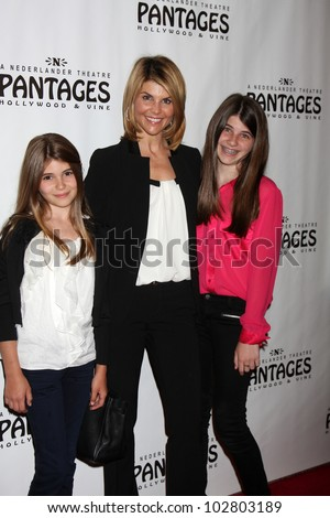 "LOS ANGELES - MAY 16:  Lori Loughlin and daughters arrives at the Opening Night of the Play ""Chicago"" at Pantages Theatre on May 16, 2012 in Los Angeles, CA"