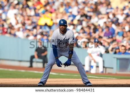 LOS ANGELES - MAY 30: Los Angeles Dodgers CF Matt Kemp #27 during the MLB game between the Colorado Rockies & the Los Angeles Dodgers on May 30 2011 at Dodger Stadium in Los Angeles. - stock photo
