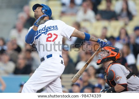LOS ANGELES - MAY 19: Los Angeles Dodgers CF Matt Kemp #27 during the MLB game on May 19 2011 at Dodger Stadium in Los Angeles. - stock photo