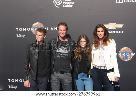 "LOS ANGELES - MAY 9:  Presley Gerber, Rande Gerber, Kaia Gerber, Cindy Crawford at the ""Tomorrowland"" Premiere at the AMC Downtown Disney on May 9, 2015 in Lake Buena Vista, CA - stock photo"