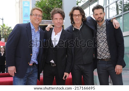 LOS ANGELES - MAY 09:  Rick Springfield, Doug Davidson, Richard Marx & Jason Thompson arrives to the Walk of Fame Honors Rick Springfield  on May 09, 2014 in Hollywood, CA.                 - stock photo