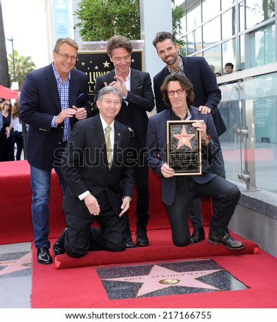 LOS ANGELES - MAY 09:  Rick Springfield, Doug Davidson, Richard Marx, Jason Thompson &  arrives to the Walk of Fame Honors Rick Springfield  on May 09, 2014 in Hollywood, CA.                 - stock photo