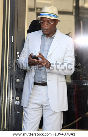 LOS ANGELES - MAY 13: Samuel L Jackson at a ceremony where Steve Harvey is honored with a star on the Hollywood Walk Of Fame on May 13, 2013 in Los Angeles, California - stock photo