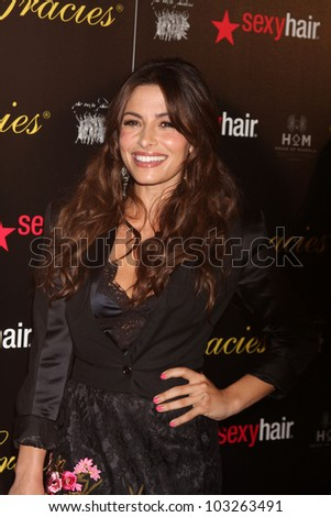 LOS ANGELES - MAY 22:  Sarah Shahi arrives at the 37th Annual Gracie Awards Gala at Beverly Hilton Hotel on May 22, 2012 in Beverly Hllls, CA - stock photo