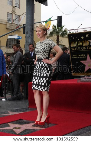 LOS ANGELES - MAY 2:  Scarlett Johansson at the Scarlett Johansson Star Walk of Fame Ceremony at Hollywood Boulevard on May 2, 2012 in Los Angeles, CA - stock photo