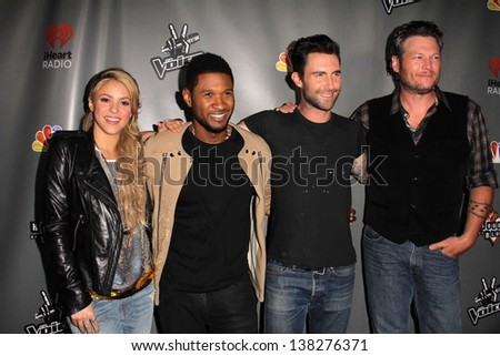 "LOS ANGELES - MAY 8:  Shakira, Usher, Adam Levine, Blake Shelton arrives at ""The Voice"" Season 4 Top 12 Event at the House of Blues on May 8, 2013 in West Hollywood, CA - stock photo"
