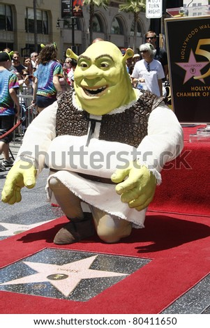LOS ANGELES - MAY 20: Shrek at the ceremony where Shrek receives a star on the Hollywood Walk of Fame in Los Angeles, California on May 20, 2010 - stock photo