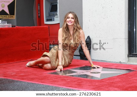 LOS ANGELES - MAY 7:  Sofia Vergara at the Sofia Vergara Hollywood Walk of Fame Ceremony at the Hollywood Blvd on May 7, 2015 in Los Angeles, CA - stock photo