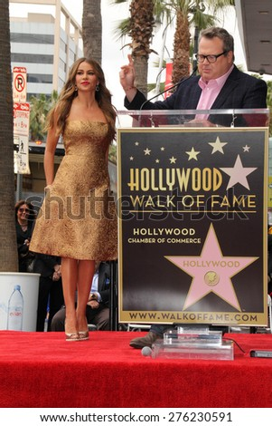 LOS ANGELES - MAY 7:  Sofia Vergara, Eric Stonestreet at the Sofia Vergara Hollywood Walk of Fame Ceremony at the Hollywood Blvd on May 7, 2015 in Los Angeles, CA - stock photo
