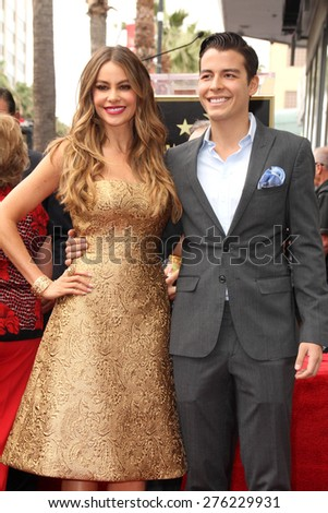LOS ANGELES - MAY 7:  Sofia Vergara, Manolo Gonzalez-Ripoll Vergara at the Sofia Vergara Hollywood Walk of Fame Ceremony at the Hollywood Blvd on May 7, 2015 in Los Angeles, CA - stock photo