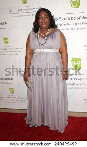 LOS ANGELES - MAY 21:  SONDRA RHIMES arrives to United Friends of the Children  on May 21, 2012 in Beverly Hills, CA                 - stock photo