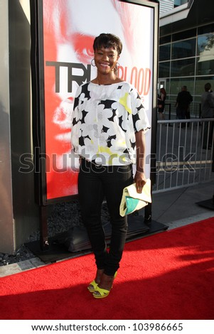 """LOS ANGELES - MAY 30:  Sufe Bradshaw arrives at the """"True Blood"""" 5th Season Premiere at Cinerama Dome Theater on May 30, 2012 in Los Angeles, CA - stock photo"""