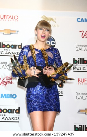 LOS ANGELES -  MAY 19:  Taylor Swift with her 8 awards in the press room at the Billboard Music Awards 2013 at the MGM Grand Garden Arena on May 19, 2013 in Las Vegas, NV