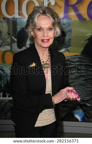 "LOS ANGELES - MAY 26:  Tippi Hedren at the ""Illicit Ivory"" World Premiere at the Witherbee Auditorium at the Los Angeles Zoo  on May 26, 2015 in Los Angeles, CA - stock photo"