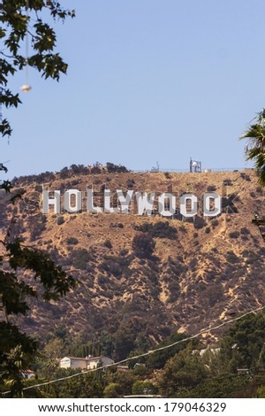 LOS ANGELES - MAY 27, 2013: View of Hollywood sign located in the hill area of Los Angeles - stock photo