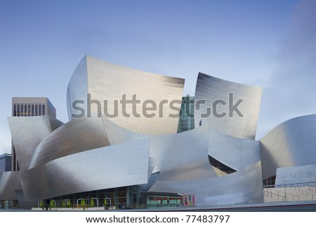 LOS ANGELES - MAY 11: Walt Disney Concert facade on May 11, 2011 in LA. The concert hall houses the Los Angeles Philharmonic Orchestra and is a design by architect Frank Gehry. - stock photo