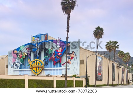LOS ANGELES - MAY 22: Warner Bros Movie Studio on May 22, 2011 located in Burbank, CA an area near Los Angeles. The iconic studio remains an important tourist attraction to the Los Angeles area. - stock photo