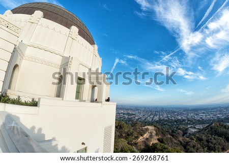 los angeles nocturnal aerial view from observatory - stock photo
