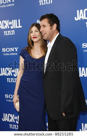 LOS ANGELES - NOV 6: Adam Sandler, wife Jackie at the 'Jack And Jill' World  Premiere at Regency Village Theater on November 6, 2011 in Los Angeles, CA - stock photo