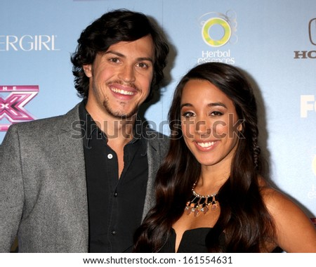 "LOS ANGELES - NOV 4:  Alex & Sierra - Alex Kinsey, Sierra Deaton at the 2013 ""X Factor"" Top 12 Party  at SLS Hotel on November 4, 2013 in Beverly Hills, CA - stock photo"