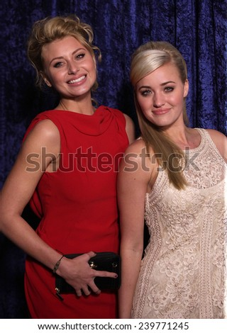 """LOS ANGELES - NOV 22:  Alyson & Amanda Michalka arrives to the """"Super 8"""" DVD Launch  on November 22, 2011 in Beverly Hills, CA                 - stock photo"""