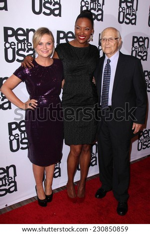 LOS ANGELES - NOV 11:  Amy Poehler, Aisha Tyler, Norman Lear at the PEN Center USA 24th Annual Literary Awards at the Beverly Wilshire Hotel on November 11, 2014 in Beverly Hills, CA - stock photo