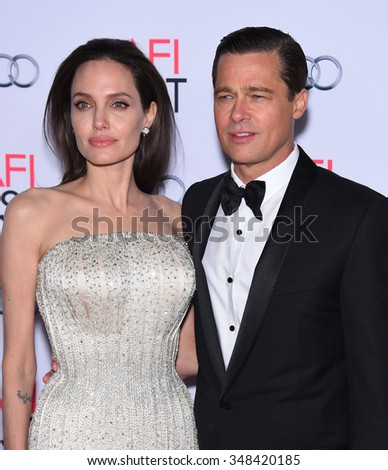 "LOS ANGELES - NOV 5:  Angelina Jolie & Brad Pitt arrives to the ""By The Sea"" World Premiere Opening Night Gala AFI Film Festival  on November 5, 2015 in Hollywood, CA.                 - stock photo"