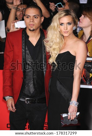 """LOS ANGELES - NOV 18:  Ashlee Simpson & Evan Ross arrives to the """"The Hunger Games: Catching Fire"""" Los Angeles Premiere  on November 18, 2013 in Los Angeles, CA                 - stock photo"""