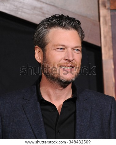 "LOS ANGELES - NOV 30:  Blake Shelton arrives to the ""The Ridiculous 6"" Los Angeles Premiere  on November 30, 2015 in Universal City, CA.                 - stock photo"