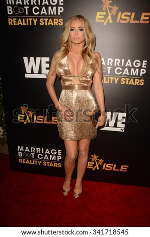 """LOS ANGELES - NOV 19:  Carmen Electra at the Premieres Of """"Marriage Boot Camp Reality Stars"""" and """"Ex-isle"""" at the Le Jardin on November 19, 2015 in Los Angeles, CA - stock photo"""