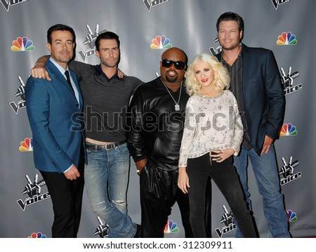 LOS ANGELES - NOV 7:  Carson Daly, Adam Levine, Cee lo Green, Christina Aguilera and Blake Shelton arrives at the The Voice Season 5 Top 12  on November 7, 2013 in Hollywood, CA                 - stock photo