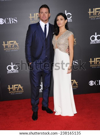 LOS ANGELES - NOV 14:  Channing Tatum & Jenna Dewan-Tatum arrives to the The Hollywood Film Awards 2014 on November 14, 2014 in Hollywood, CA                 - stock photo